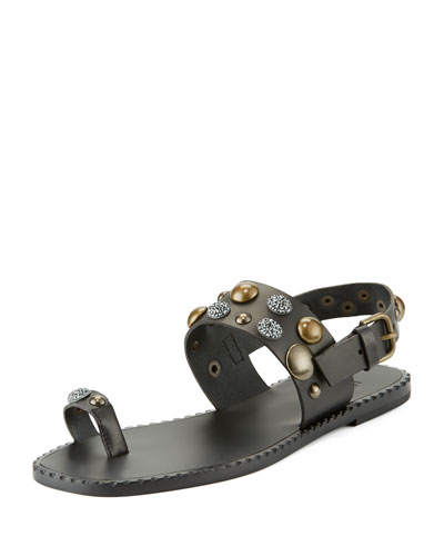 Cuoio Studded Leather Sandal, Black