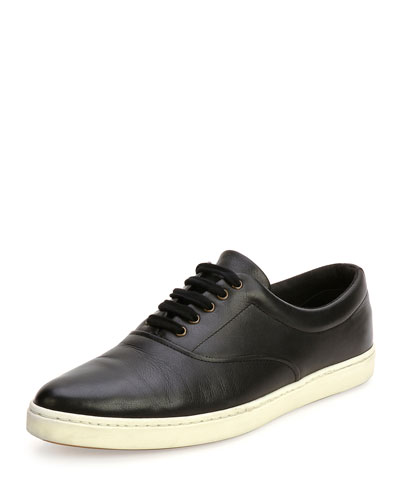 Malibu Leather Lace-Up Sneaker, Black