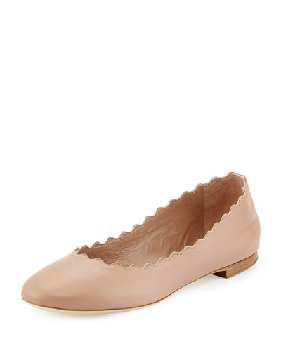 Scalloped Leather Ballerina Flat