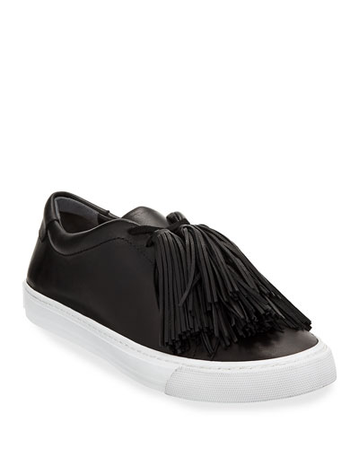 Logan Tassel-Tie Leather Sneakers