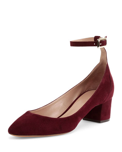 Suede Ankle-Wrap Ballerina Pump, Bordeaux