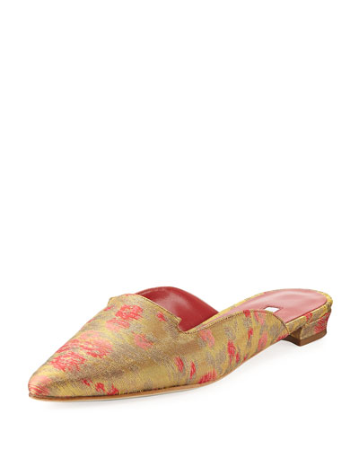 Ruby Denim Point-Toe Flat Mule Slide, Gold