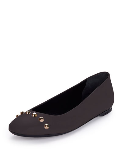 Studded Leather Ballerina Flat, Chartreux