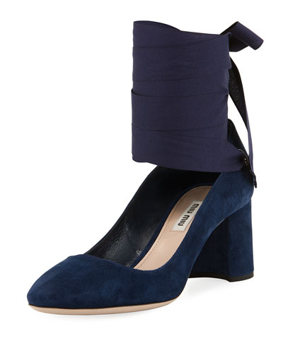 Suede Ankle-Wrap Pump, Oltremare