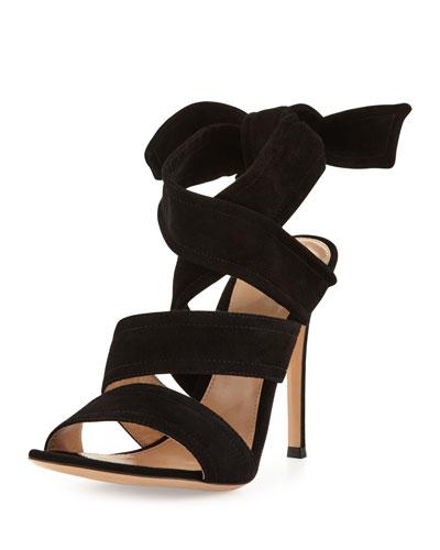 Suede Ankle-Tie 105mm Sandal, Black