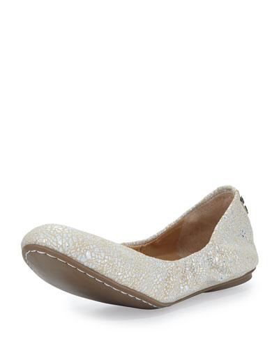 Molly Metallic Cracked Suede Ballet Flat, Beige