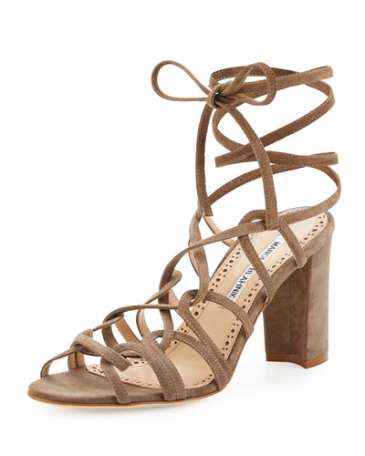 Jena Suede Lace-Up Sandal, Taupe