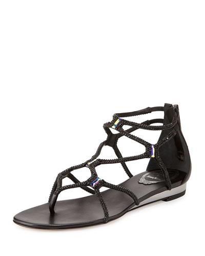 Flat Crystal Gladiator Thong Sandal, Black