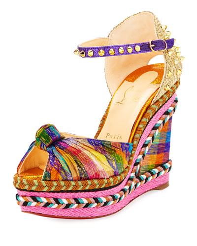 Madcarina Knotted Spiked Wedge Espadrille Sandal, Multi