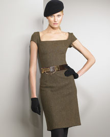 Ralph Lauren Black Label Herringbone Dress & Wide Belt -  Ralph Lauren Black Label -  Neiman Marcus