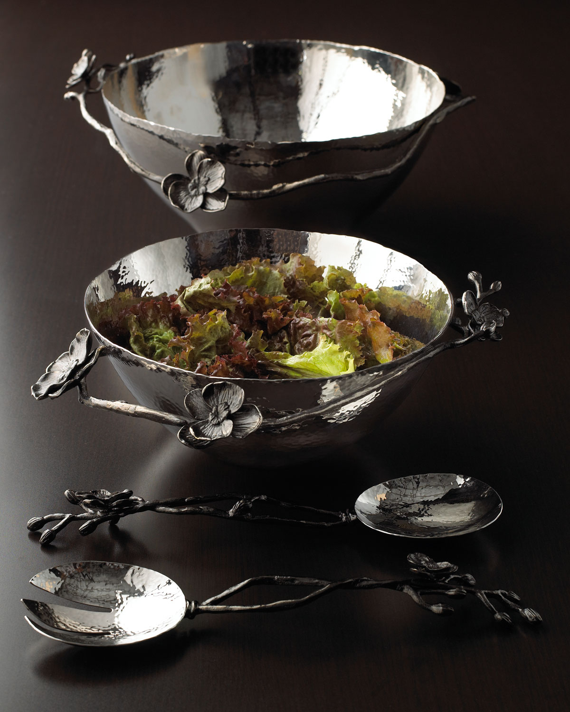 Large Black Orchid Bowl