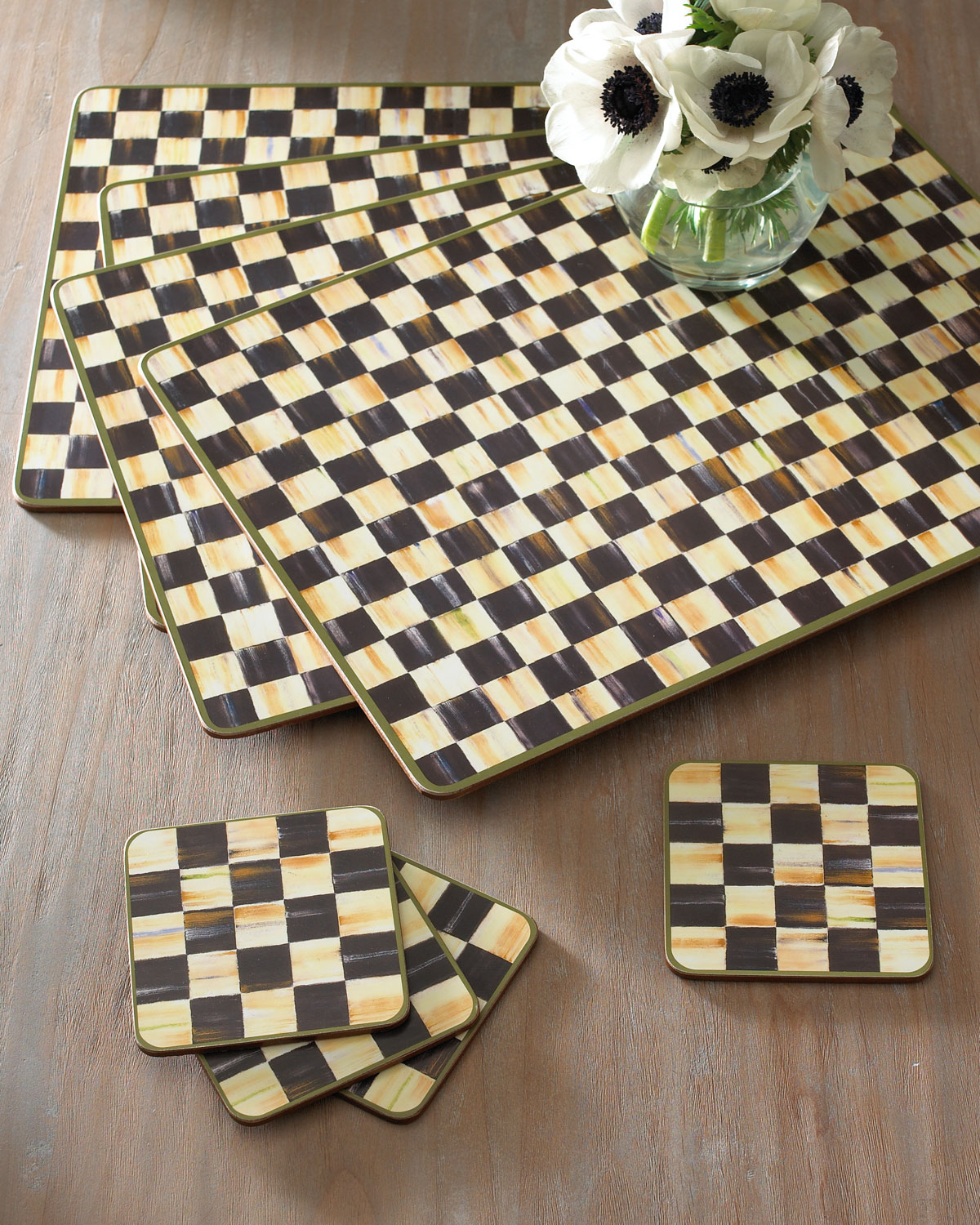 Courtly Check Coasters, Set of 4
