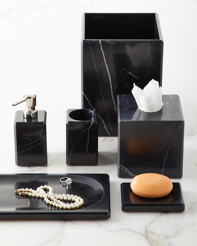 Luna Black Marble Tissue Box Cover