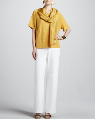 Boxy High-Low Top, Whisper Silk Wrap, Stretch Crepe Wide-Leg Pants, Petite