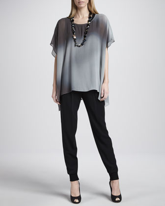 Watercolor Sheer Tunic, Silk Jersey Tank, Cuffed Silk Georgette Ankle ...
