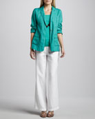 Handkerchief Linen Notch-Collar Jacket, Organic Cotton Tank & Heavy Linen Trousers, Women's