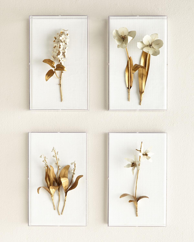 Original Gilded Tulip on White Linen