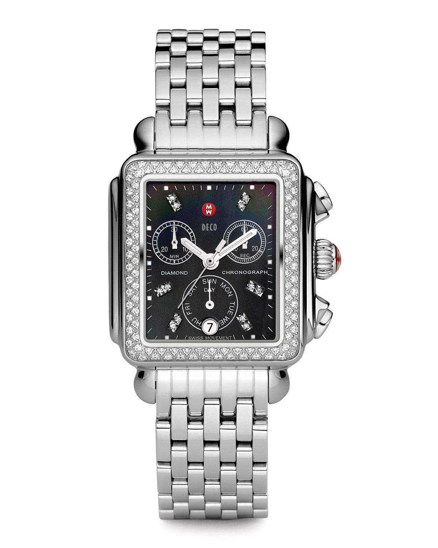 18mm Deco Diamond, Black Dial Watch Head, Steel