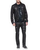 Bunmi Sheepskin Leather Jacket, Wolf-Graphic Jersey Tee & Zippered Leather Pants