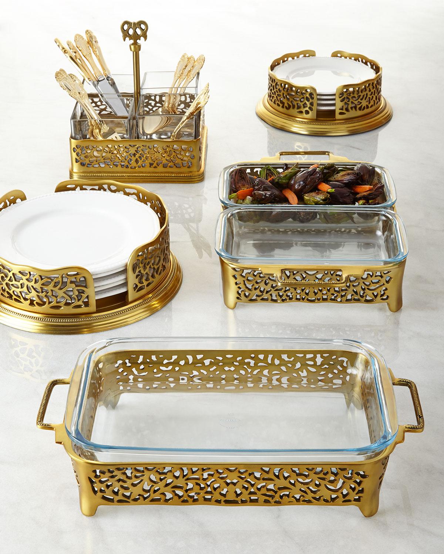 Gold-Tone Pierced Dinner Plate Holder