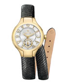 Mini Gold Watch Head & 12mm Lizard Double-Wrap Strap
