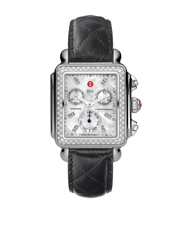 18mm Deco Diamond Watch Head, Steel