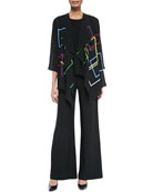 Primary Squares Draped Jacket, Stretch Knit Long Tank & Wide-Leg Pants