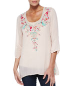Priscilla Embroidered Tunic & Scoop-Neck Cotton Tank
