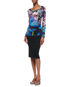 Butterfly-Print Jersey T-Shirt & Below-The-Knee Tulle Tube Skirt