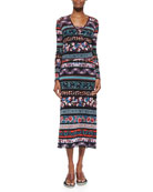 Mixed-Print Striped Wrap Top & Mixed-Print Striped Tank Dress, Blue Multi