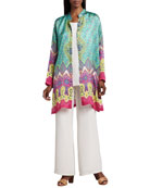 Allover Print Jacket, Longer Silk Tank & Wide-Leg Pants