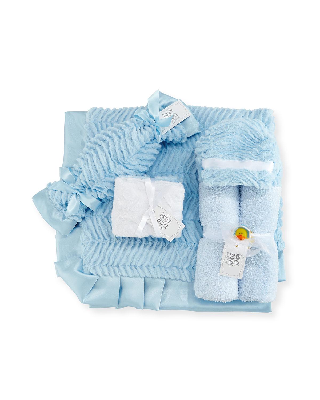 Ziggy Plush Receiving Blanket, Blue