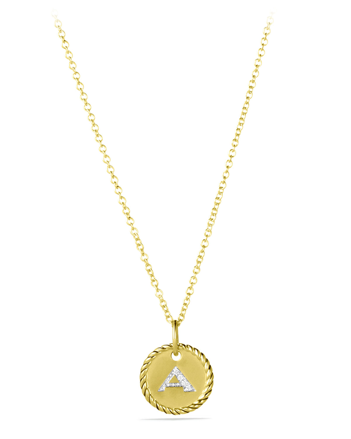 """V"" Pendant with Diamonds in Gold on Chain"