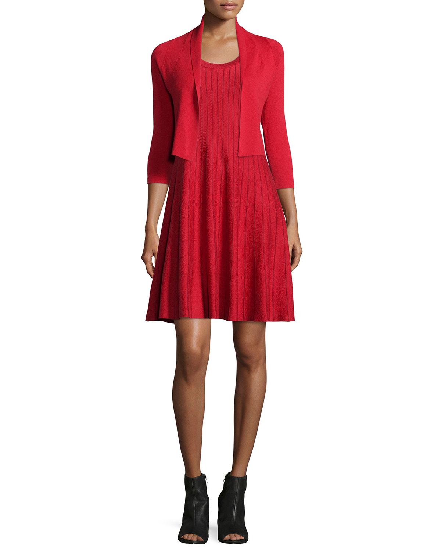 Twirl Sleeveless Knit Dress, Red, Plus Size