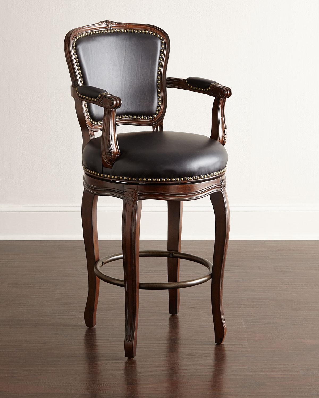 Wooden Revolving Stool Light Brown Swivel Bar Pub Chair: Elina Swivel Barstool