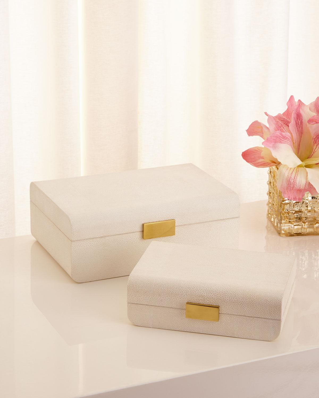 Cream Faux-Shagreen Large Decorative Box