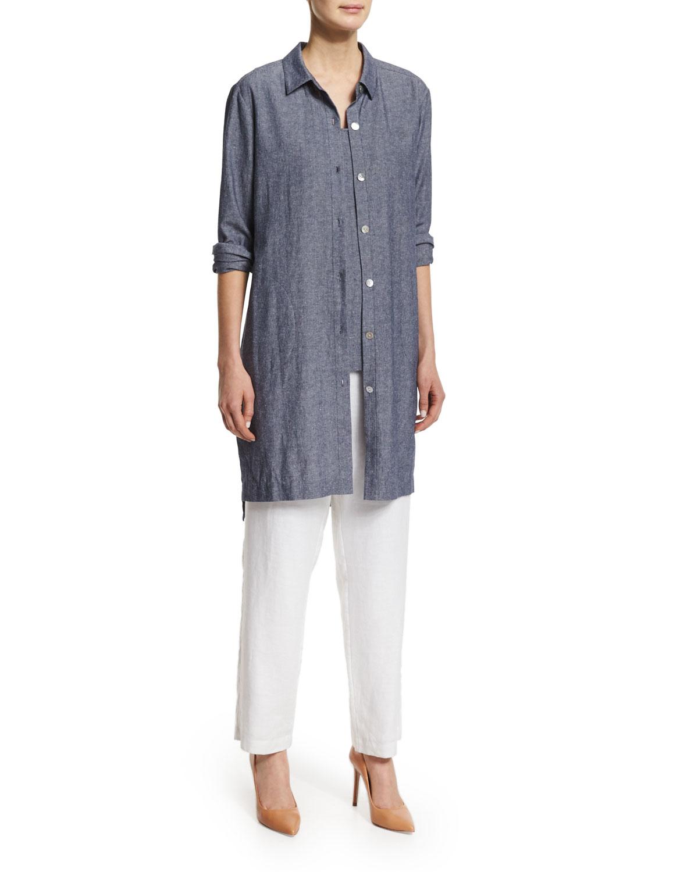 Straight-Leg Lined Linen Pants, Petite
