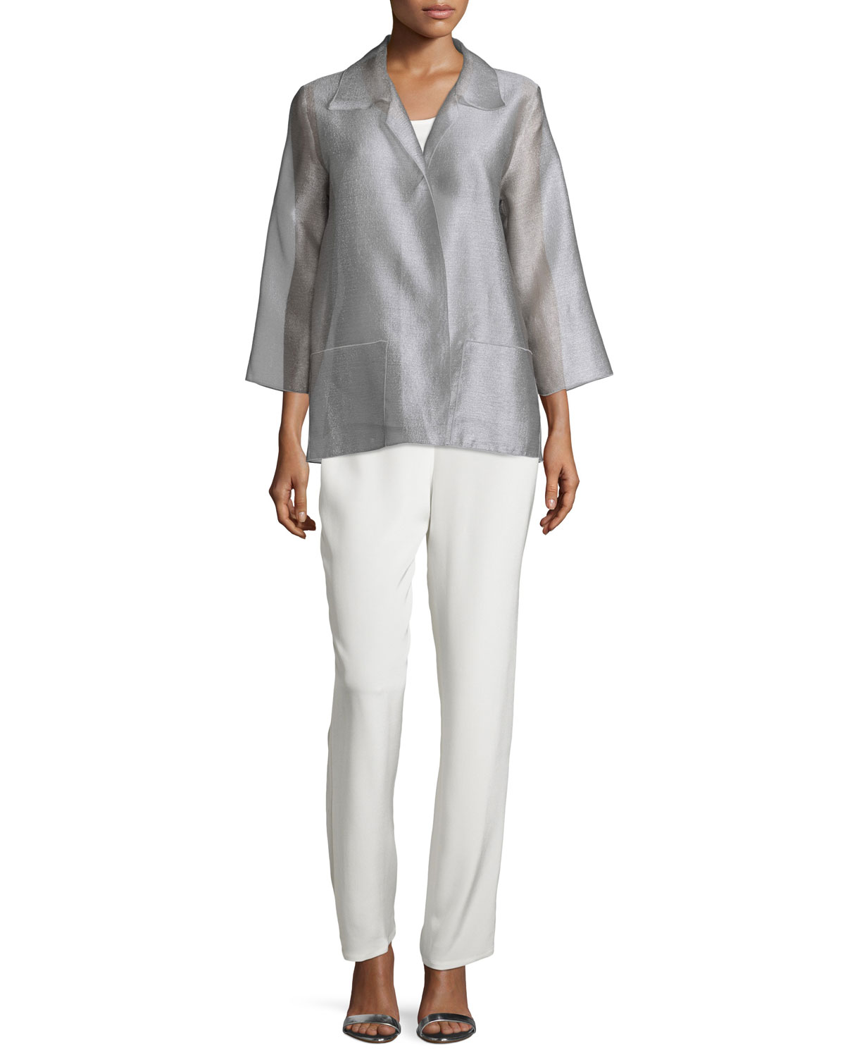 Silk Crepe Straight-Leg Pants, White, Petite