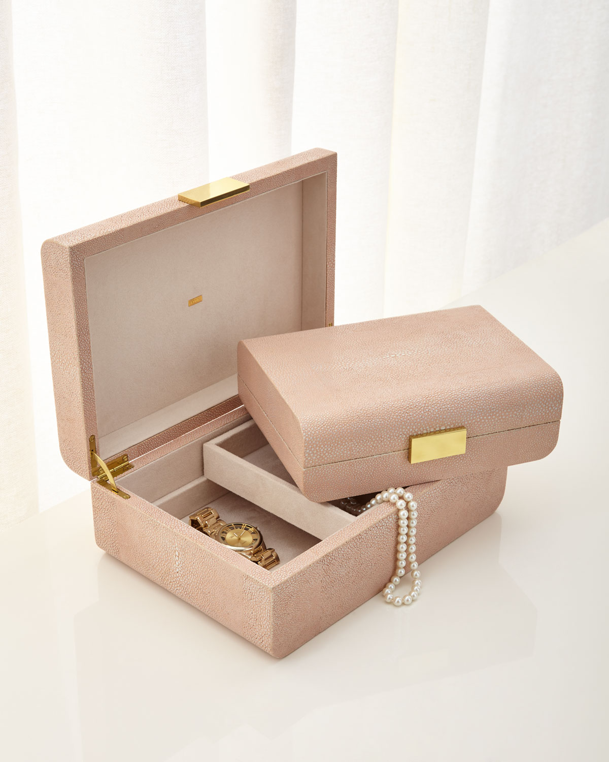 Small Blush Modern Shagreen Decorative Box
