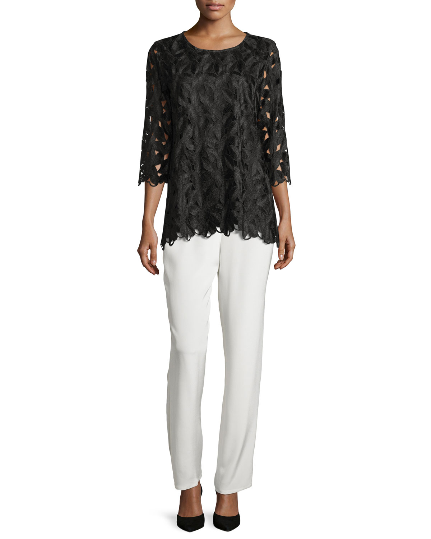 Silk Crepe Straight-Leg Pants, White