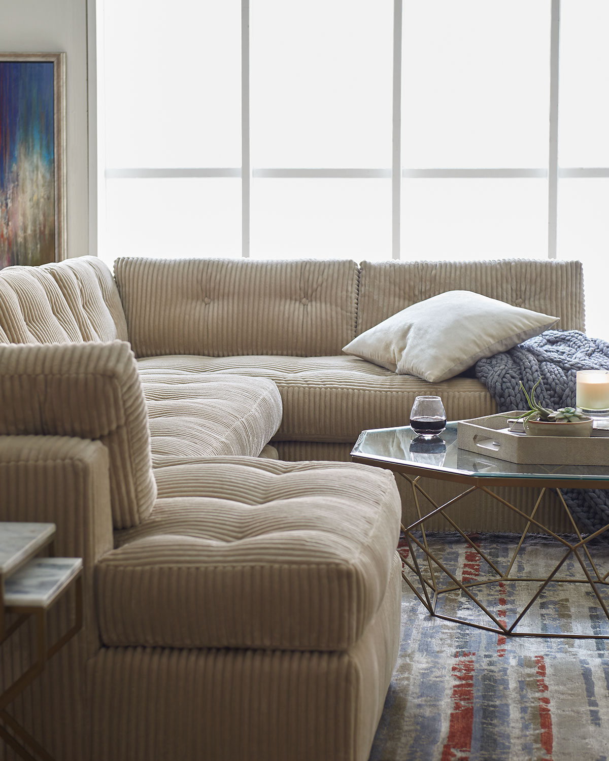 McLain Ivory 3-Piece Right-Side Chaise Sectional Sofa