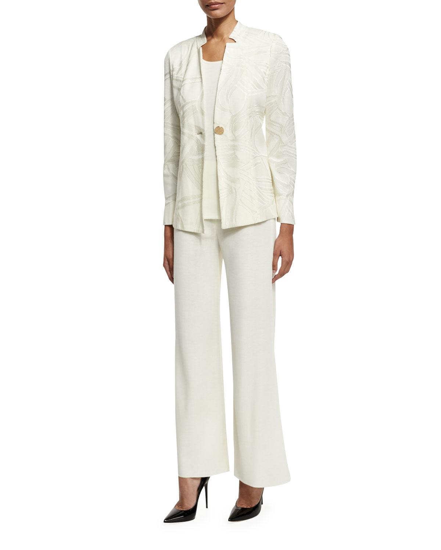 Notch-Collar Tonal-Print Jacket, Cream, Plus Size