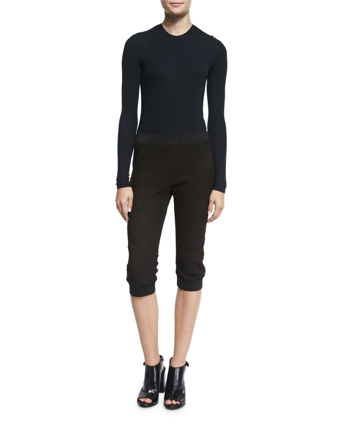 Cropped Stretch Suede Track Pants, Black