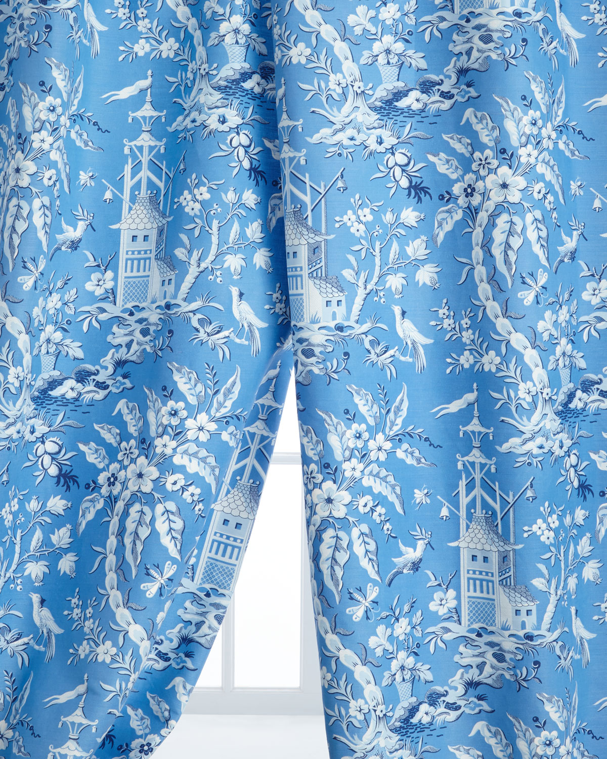 """Two 50""""W x 108""""L Pagoda Garden Toile Curtains"""