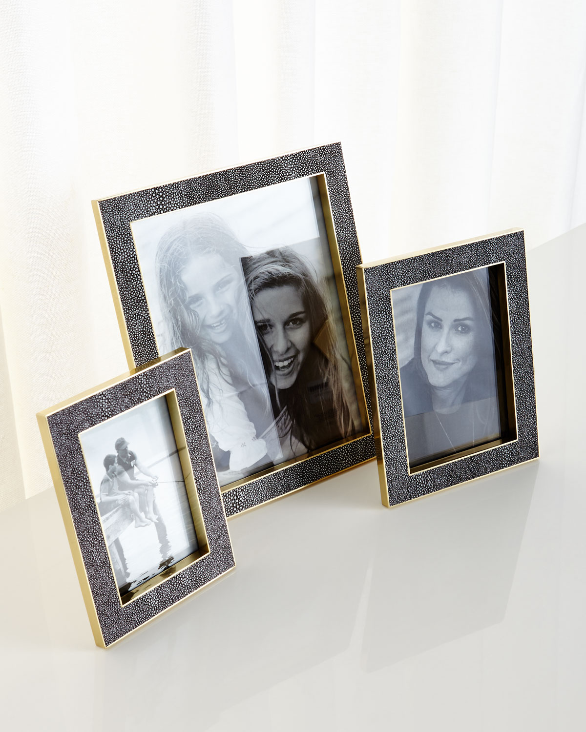 """Classic Chocolate Faux-Shagreen Frame, 8"""" x 10"""""""