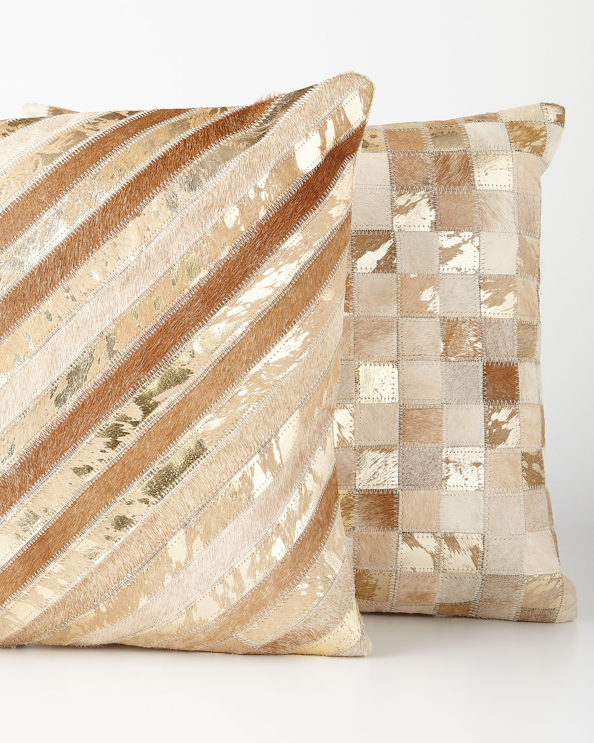 Beige Diagonal Stripe Cowhide Pillow