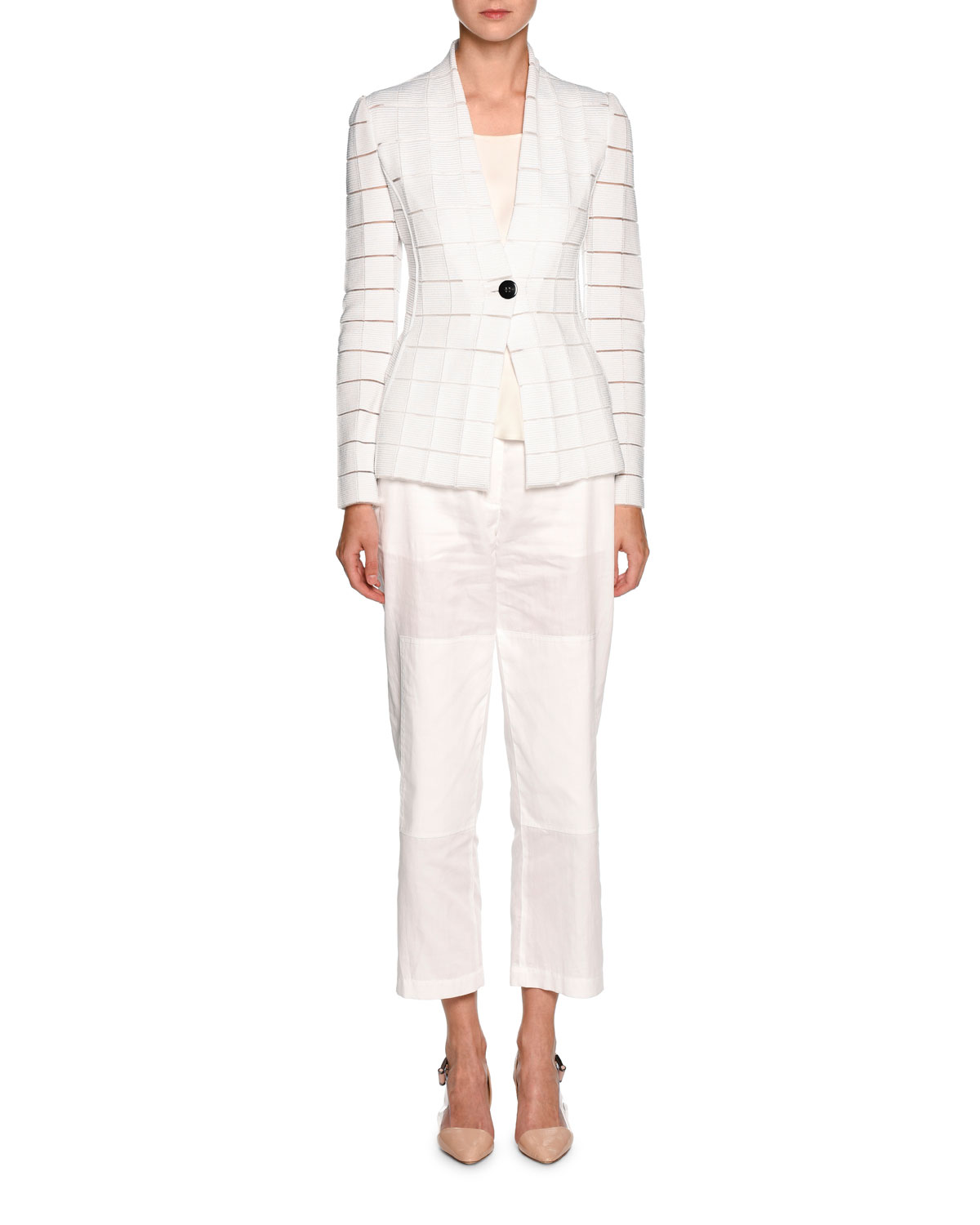 Sheer-Cutout One-Button Blazer, White