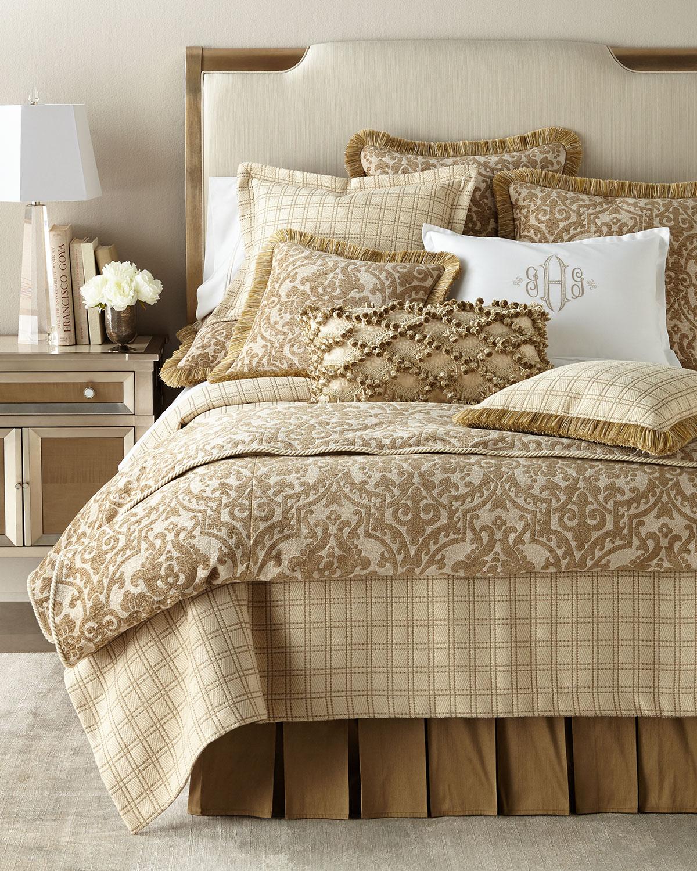 "Kensington Garden Leopard-Print Pillow with Onion-Ball Fringe, 25"" x 16"""