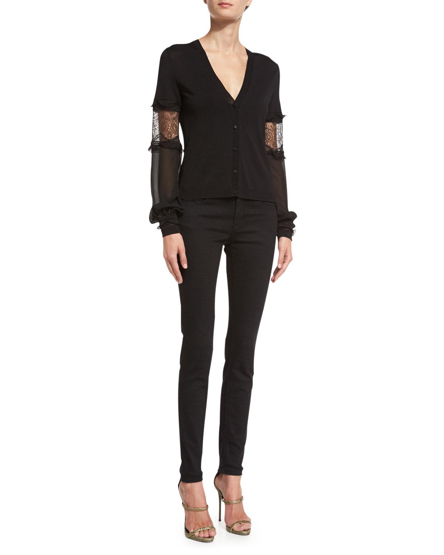 Lace-Inset V-Neck Cardigan, Black