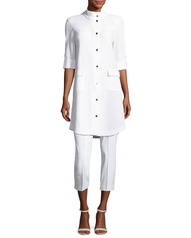 Stretch-Cotton Cropped Pants, Plus Size
